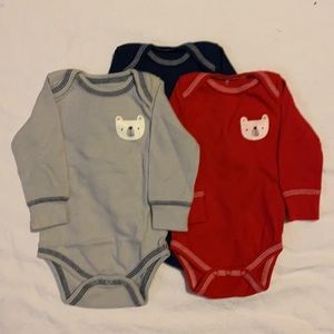 Chick Pea 3 Piece Red White Navy Blue long Sleeve Onesies EUC